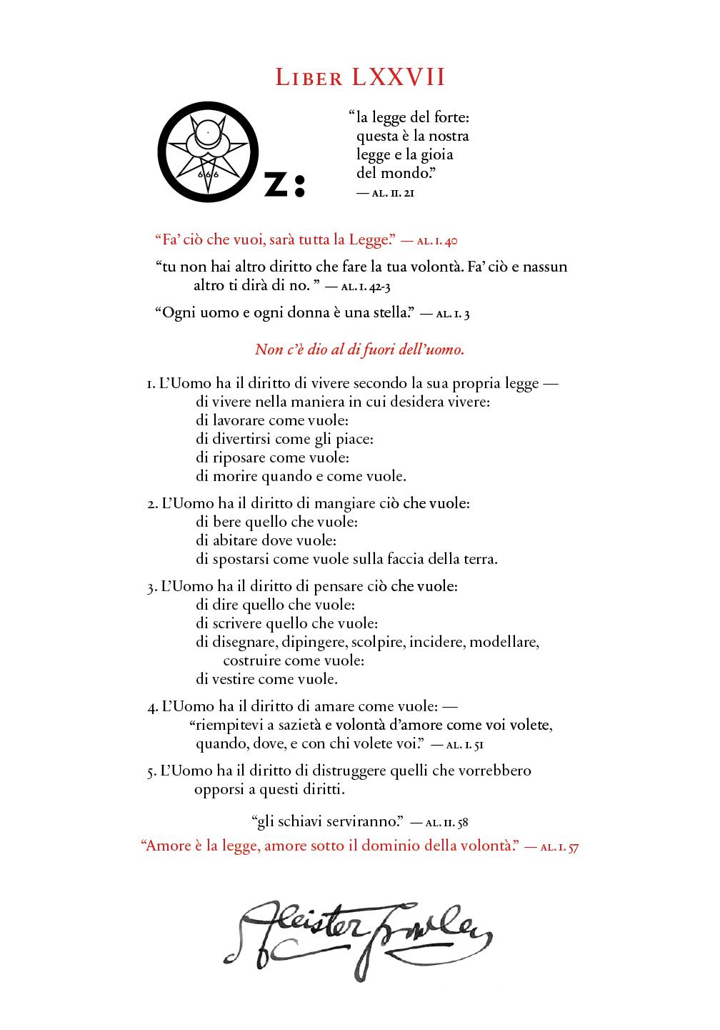 Liber OZ in Italian